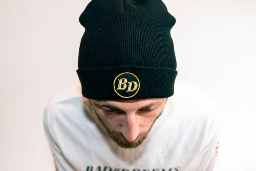 Circle Patch Black Beanie by Bad Dreems