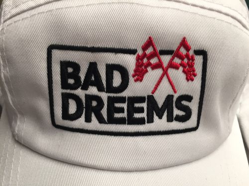 White Legionnaire hat with black logo / red flag by Bad Dreems