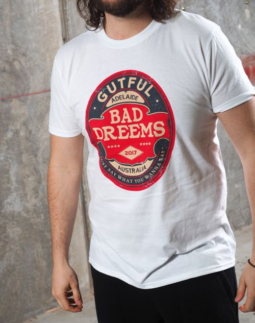 Gutful White Tshirt by Bad Dreems