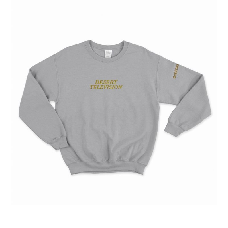 Desert Television Grey Sweater with Gold Embroidery